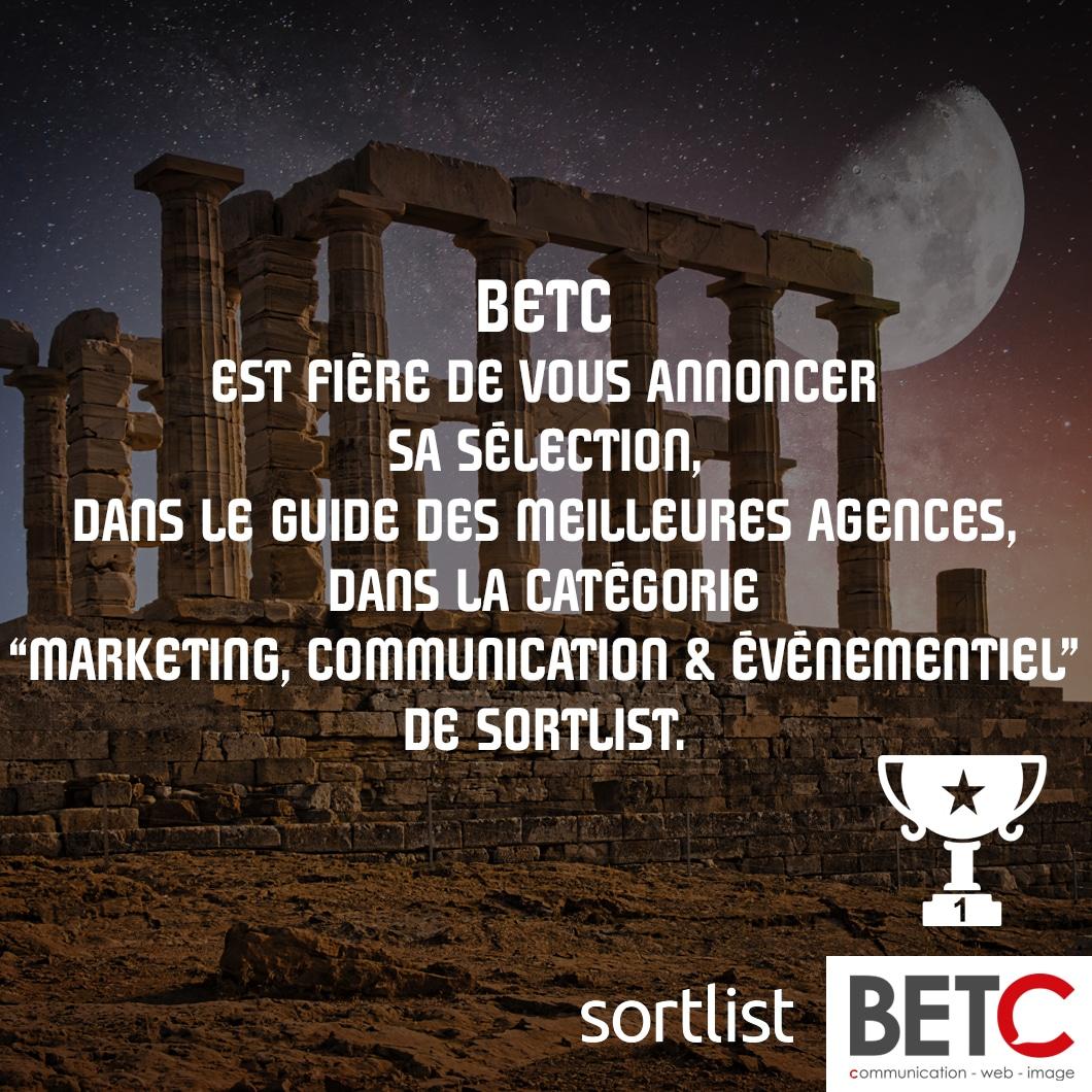 BETC est fière de vous annoncer sa sélection, dans le Guide des Meilleures Agences